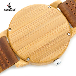 BOBO BIRD Quartz Leather Men Bamboo Watch
