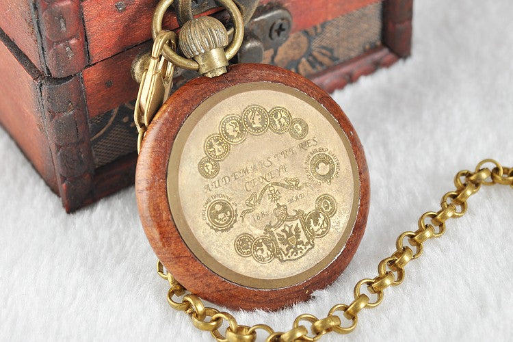 Wood & Brass Short Chain Mechanical Pocket Watch