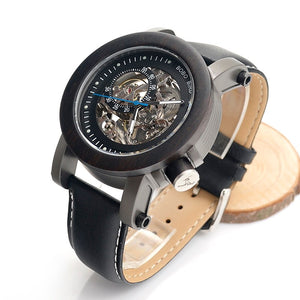 BOBO BIRD EK10 Bamboo Wooden Automatic Mechanical Wristwatch With Leather Strap
