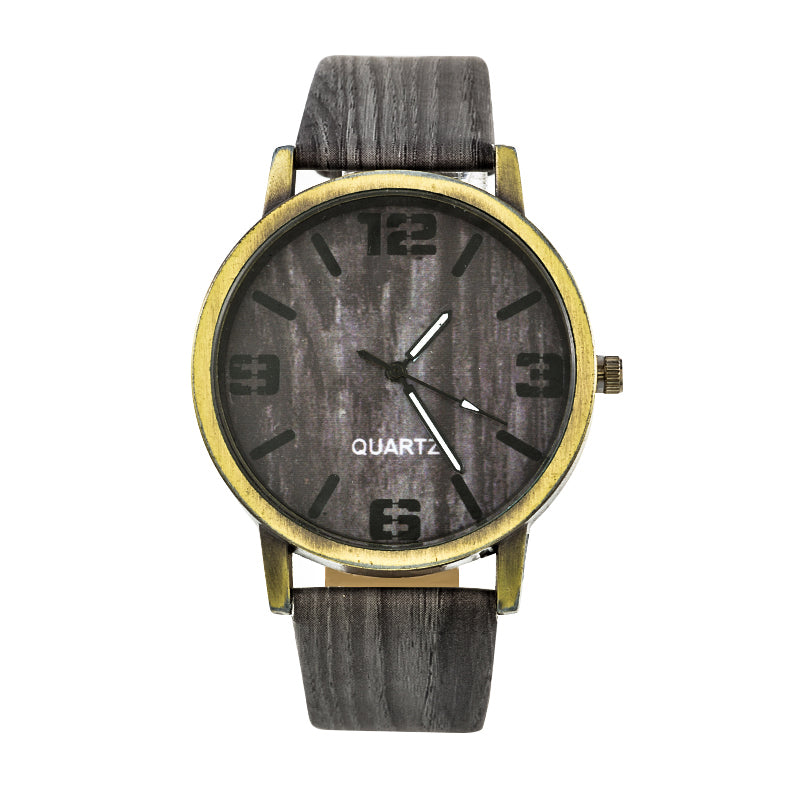 Simulated Wooden Watches with Leather Strap