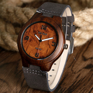 Cool Natural Wood Quartz Pocket Watch