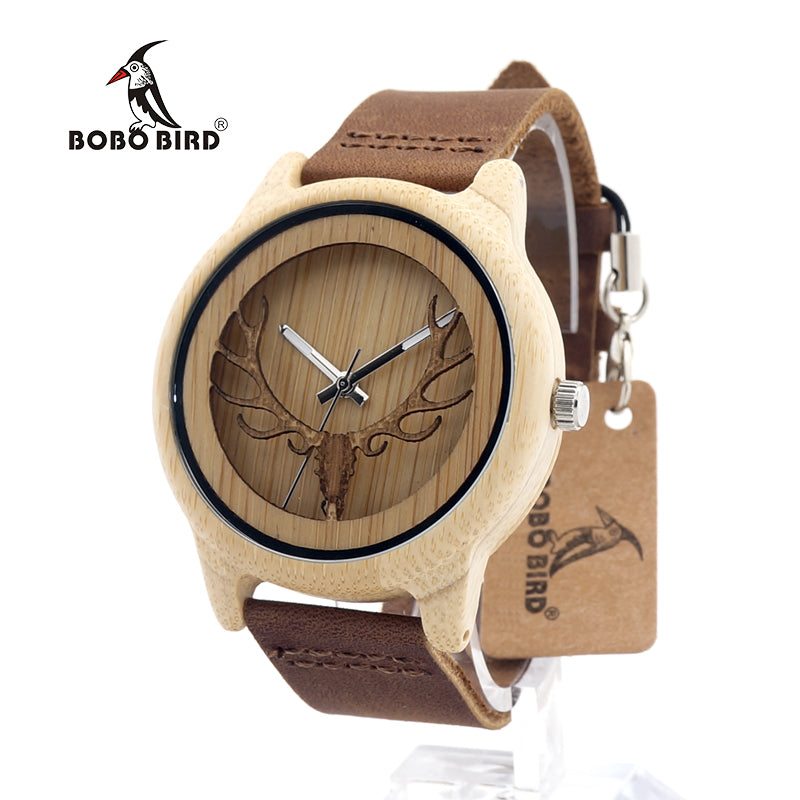 BOBO BIRD Hollow Deer Head Bamboo Wood Casual Watch