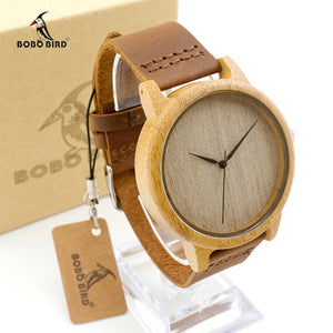 BOBO BIRD Men's Luxury Bamboo Wooden Wristwatch With Genuine Leather Band