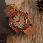 BOBO BIRD Wooden Watch with Genuine Leather Band