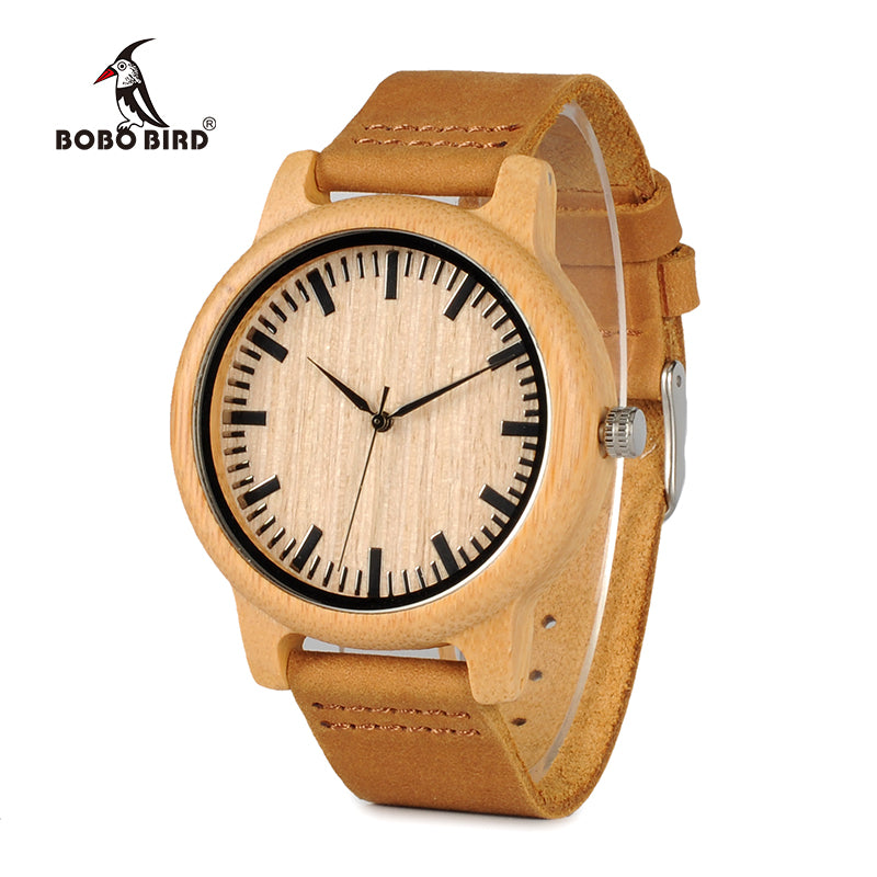 BOBO BIRD Unisex Bamboo Wood Quartz Watch With Scale Soft Leather Straps