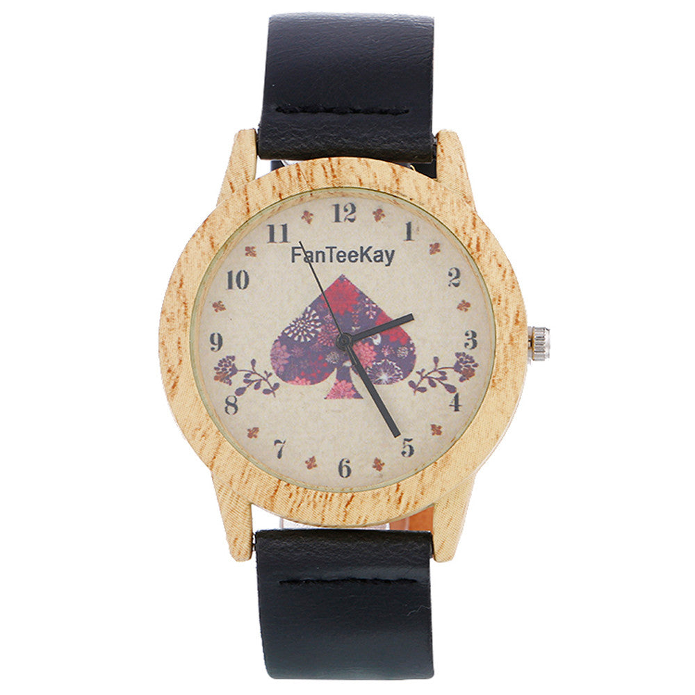 Women's Wood Grain Analog Quartz Watch
