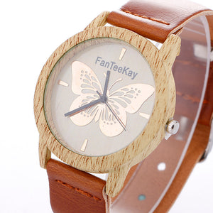 Wood Grain Buttterfly Analog Quartz Watch Leather Band Wrist Watch