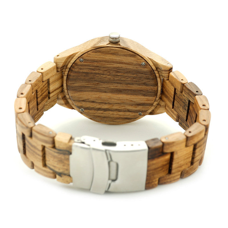 Men's Luxury All Wooden Watch / Zebra Pattern + Cherry Face