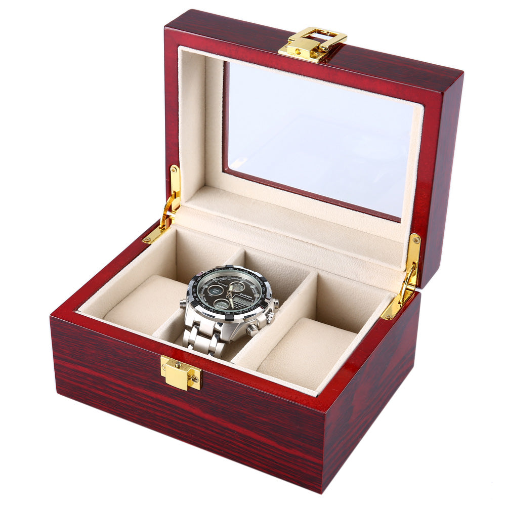 3 Grids Wooden Watch Case