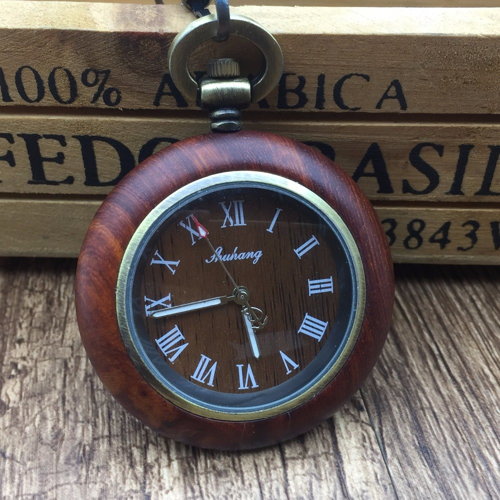 Red Wood Quartz Pocket Watch