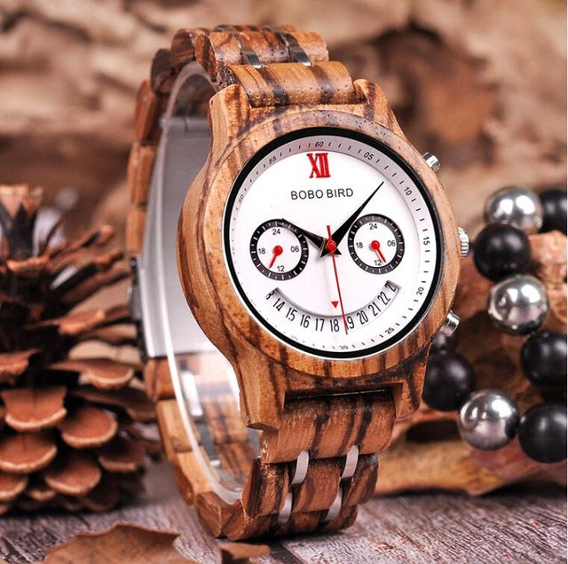 BOBO BIRDWood Smiling Face Quartz Wristwatch