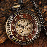Wood Circle Carved Number Dial Mechanical Pocket Watch