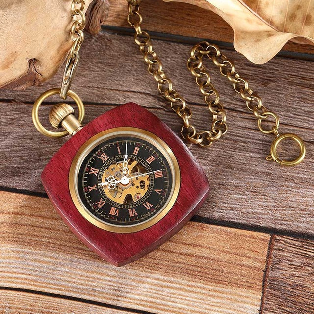 Wooden Pocket Mechanical Watch
