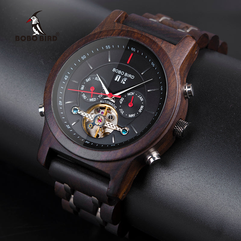 BOBO BIRD Luxury Black Wooden Watch