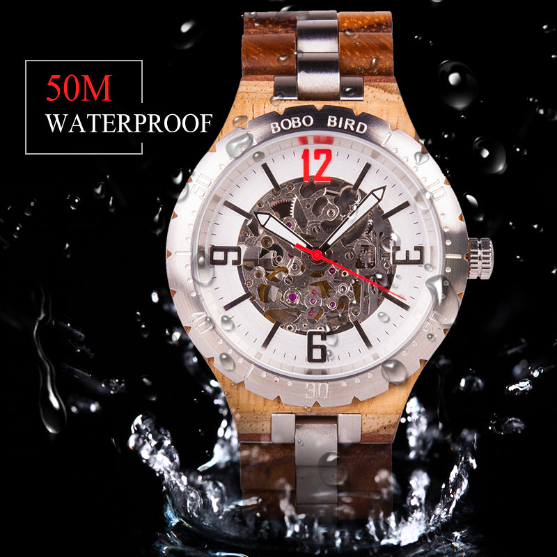 BOBO BIRD Luxury Water Resistant Stainless Steel Automatic Watch