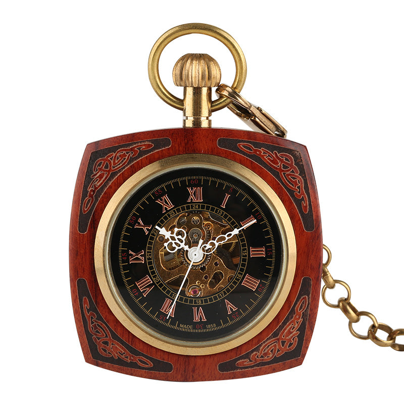 Red Wooden Carved Hand Winding Mechanical Pocket Watch W/ Chain