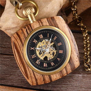 Wooden Carved Mechanical Pocket Watch