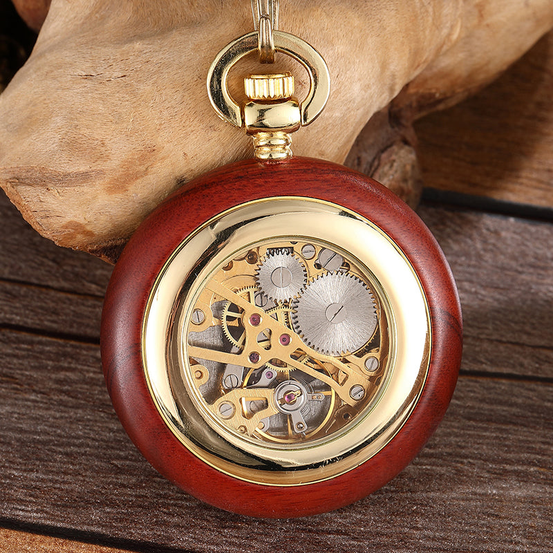 Unique Red Wooden Mechanical Pocket Watch