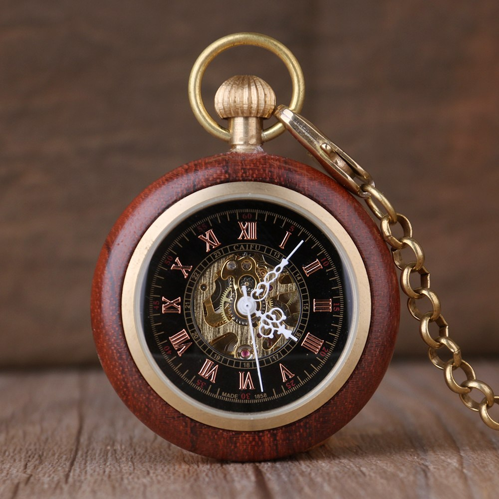 Wood & Copper Skeleton Hand Winding Mechanical Pocket Watch W/ Chain