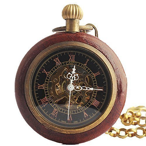 Roman Copper Steampunk Wood Ring Hollow Mechanical Pocket Watch