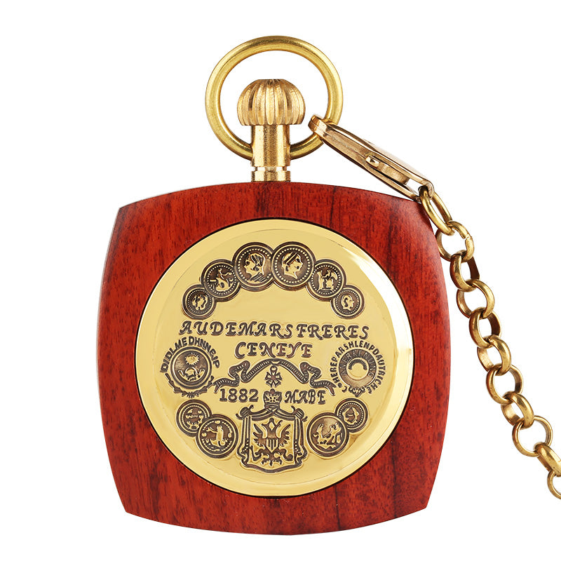 Red Wood Carving Retro Mechanical Pocket Watch with Chain