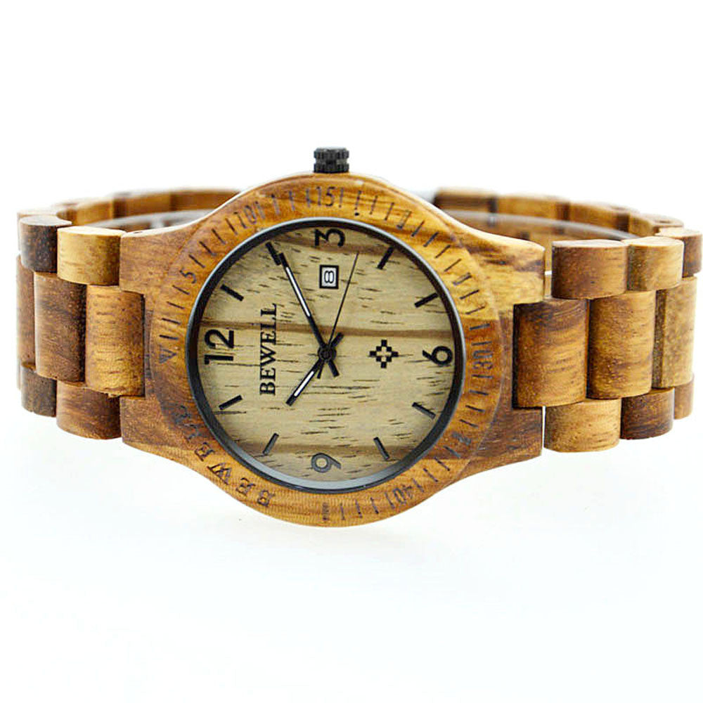 Women's Zebrano Wooden Casual Wristwatch with Calendar