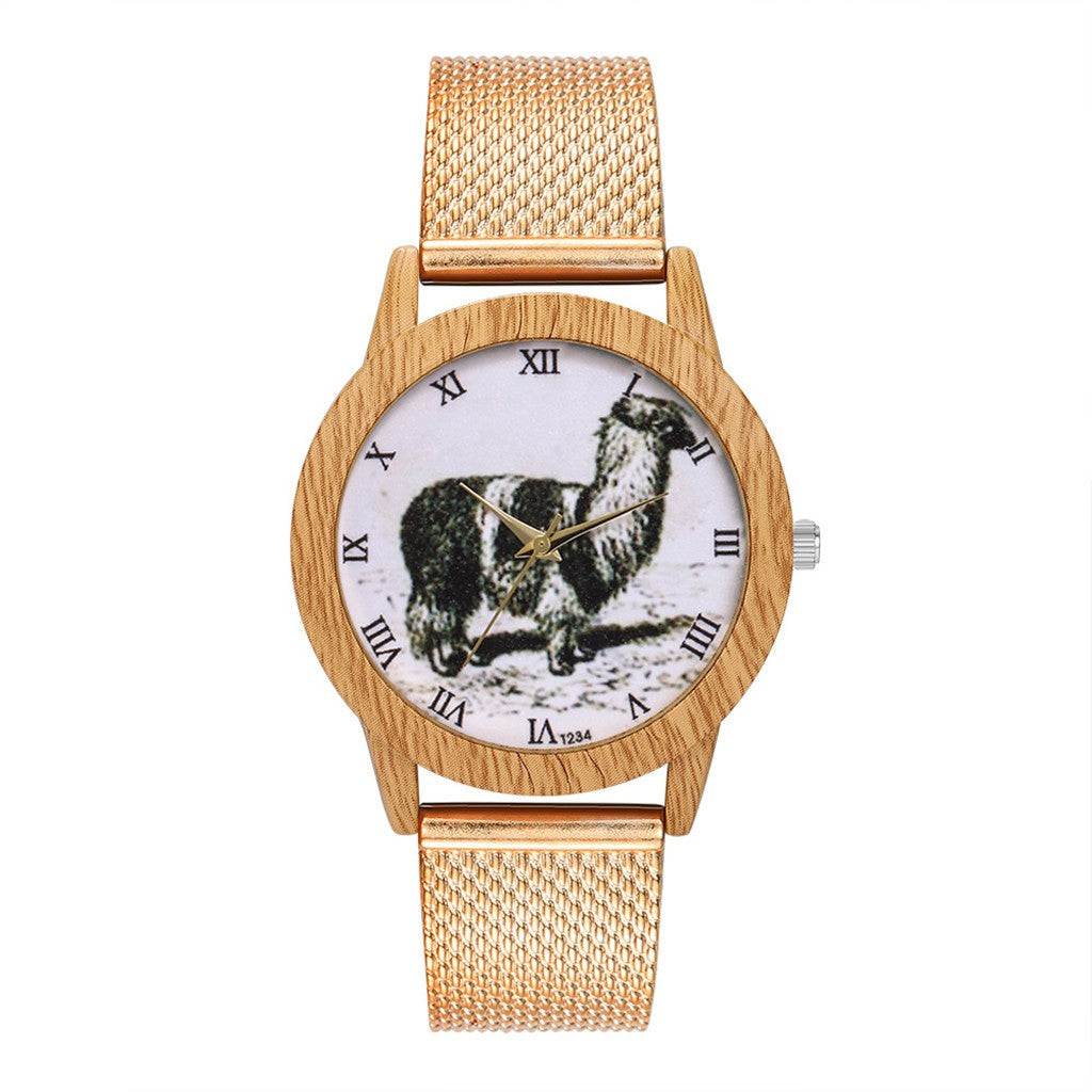 Llama Fashion Wood Grain Womens Wrist Watch