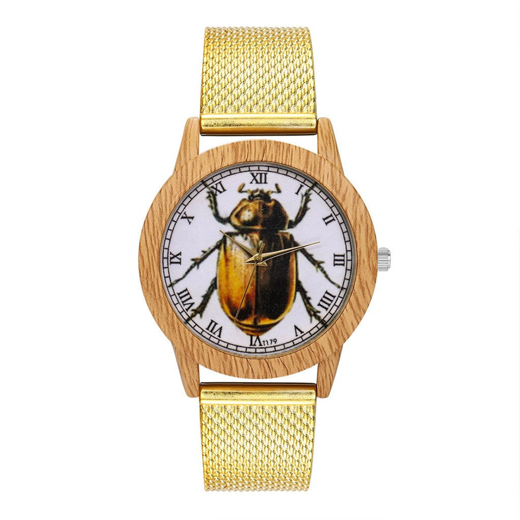 Beetle Wood Grain Women Wrist Watch