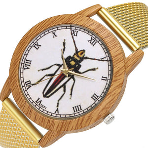 Beetle Wood Grain Women's Wrist Watch