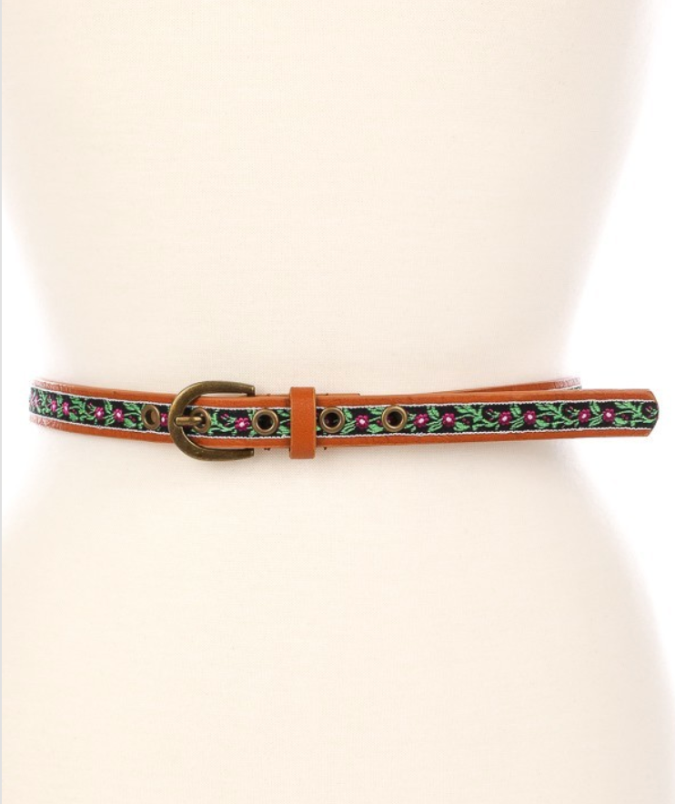 Faux Leather Flower Detail Belt