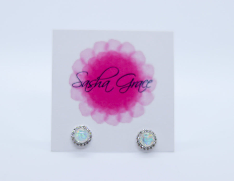 Elena Round Opal Earrings