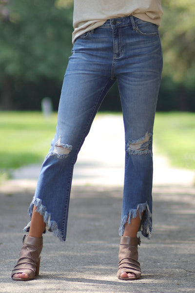 Straight Leg with Cropped Flare Distressed Hem