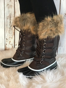 Tall Rubber Boots with Fur
