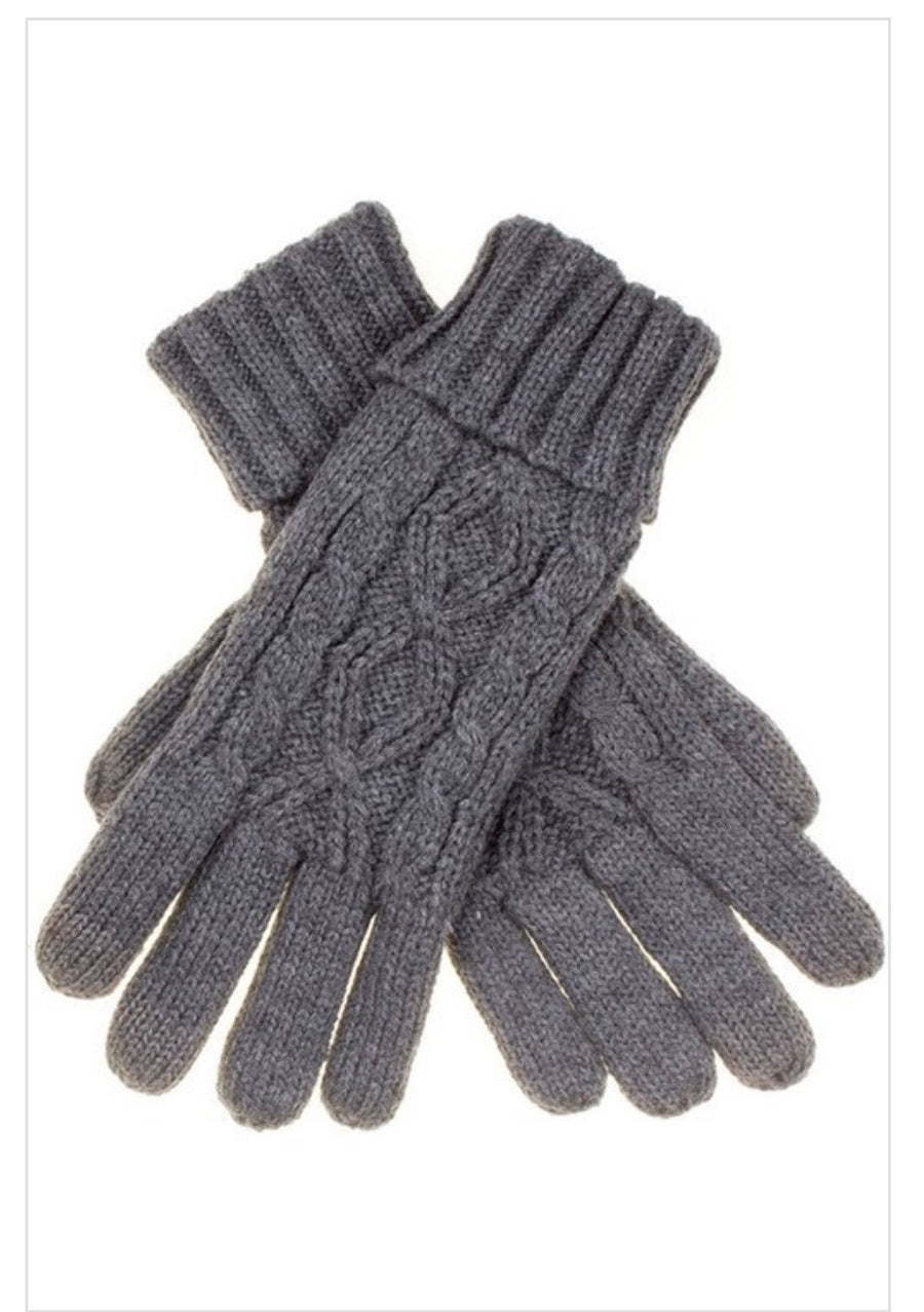 CC Cable Knit Folded Cuff Gloves