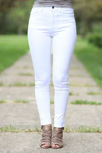 High Rise White Jeans