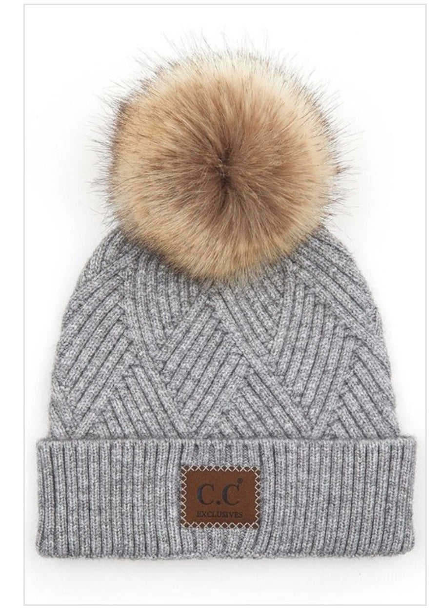 CC Heather Beanie Pom Hat