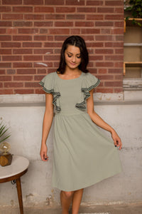 Sage Dress With Ruffle Top
