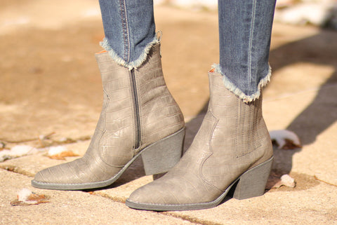 Grey Fuax Snakeskin Booties
