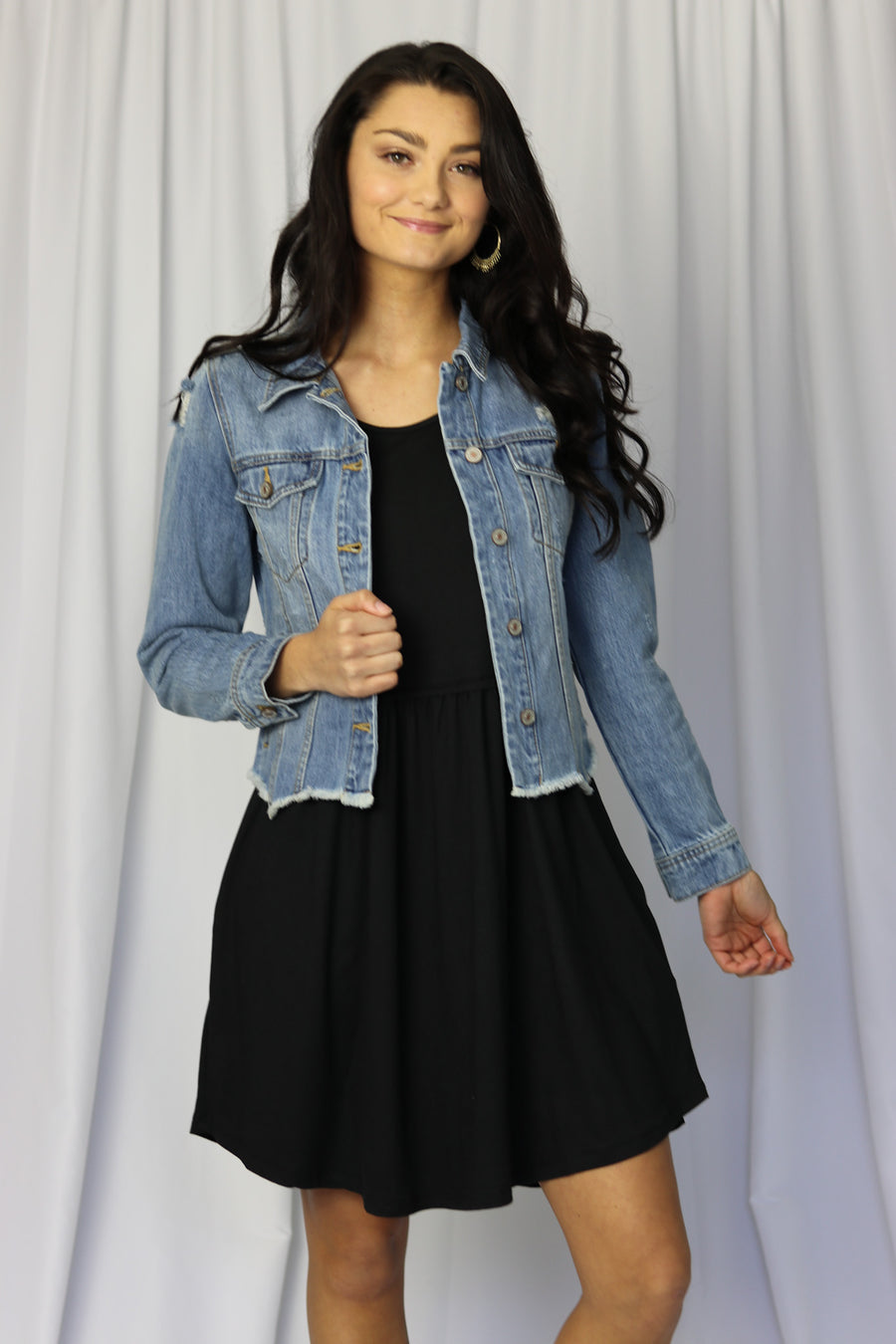 Distressed Raw Hem Denim Jacket