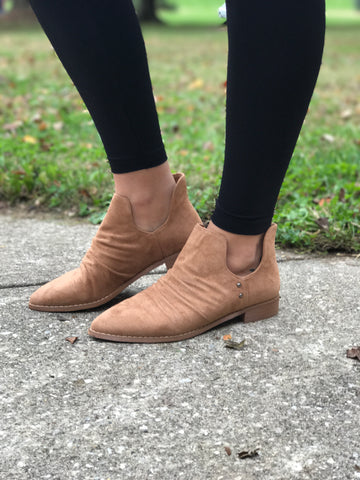 Side Cutout Booties with Low Stacked Heel