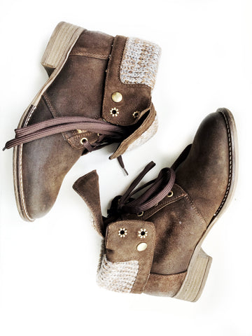 Brown Suede Sweater Boot