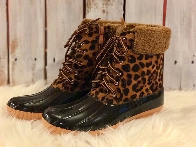 Leopard Print Snow Booties