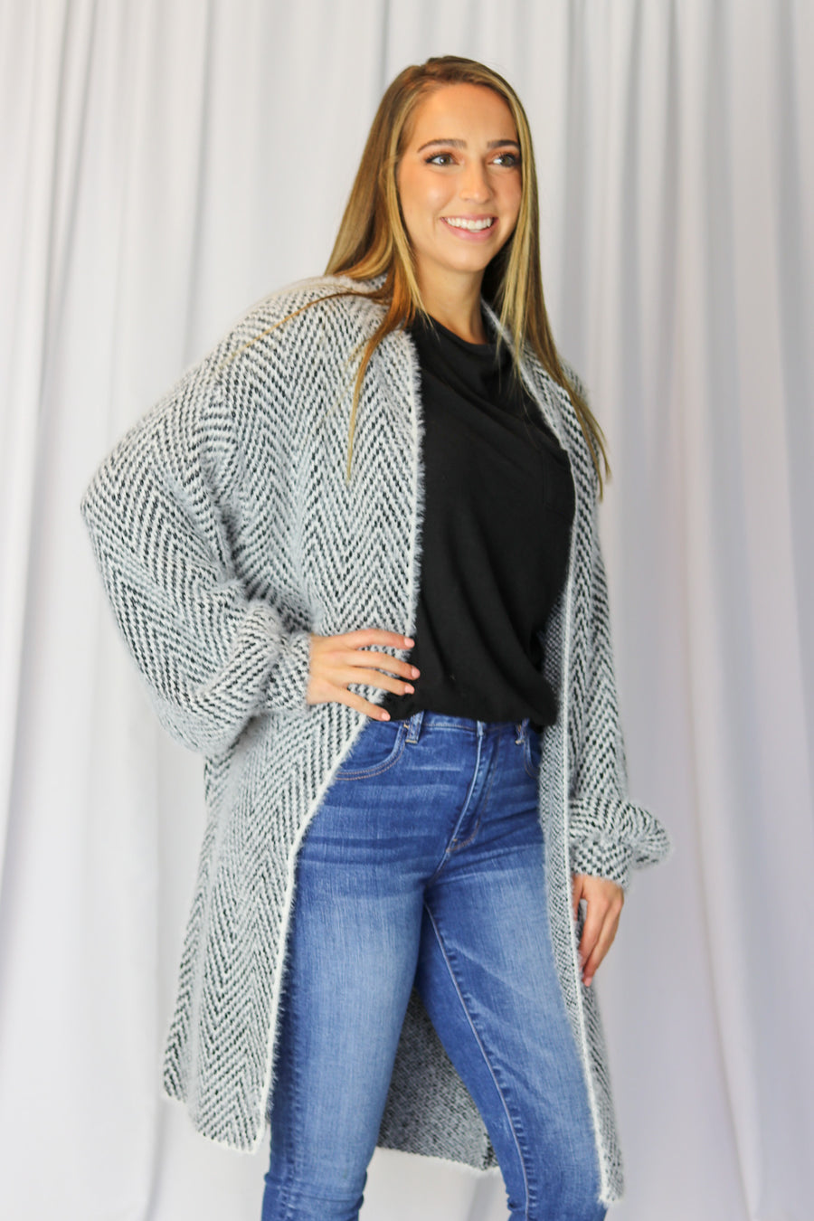 Fuzzy Textured Open Cardigan