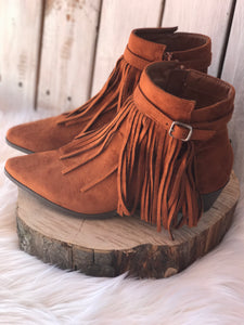 Tan Fringe Polished Buckle Strap Booties