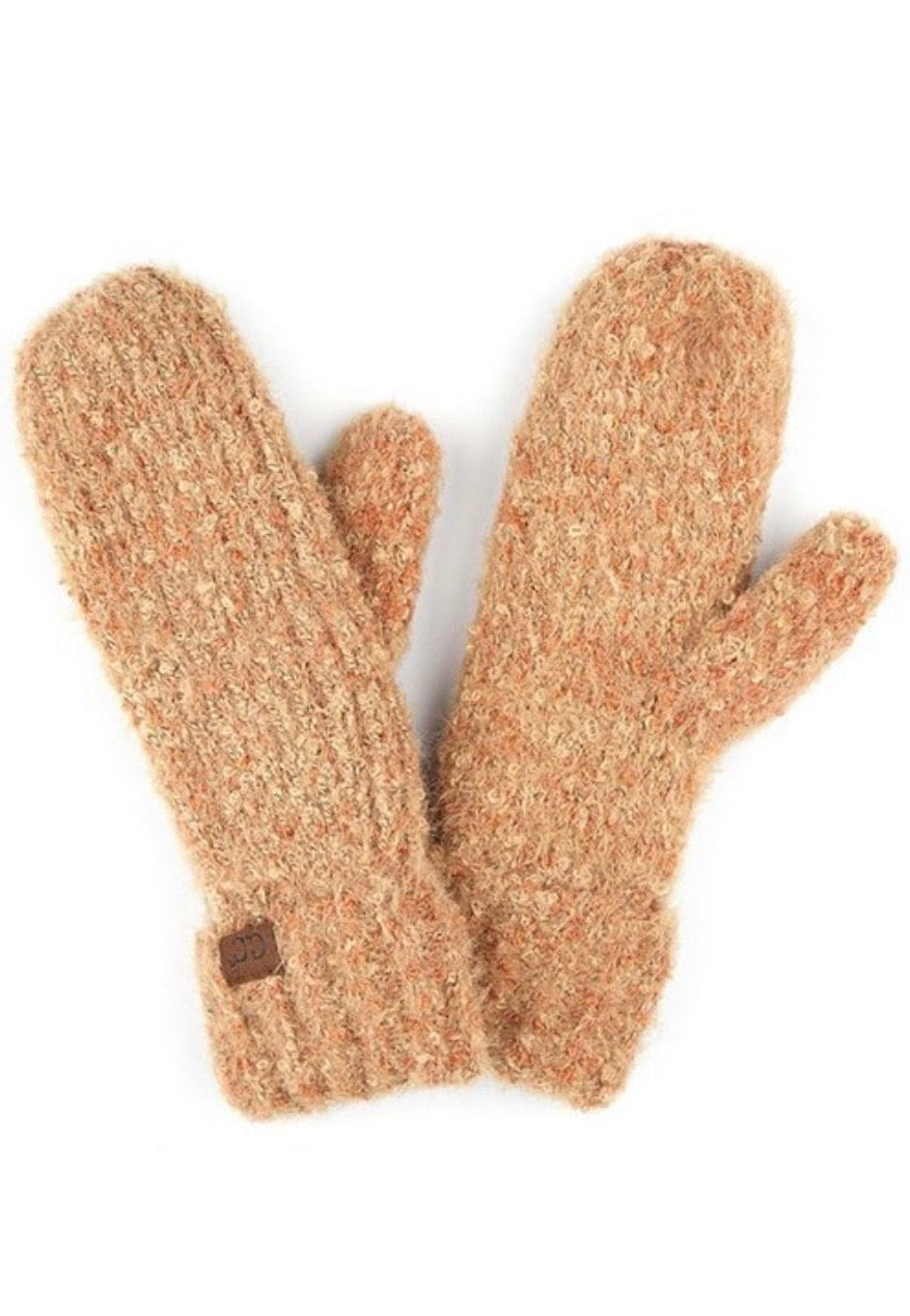 CC Boucle Yarn Mitten Gloves with Cuff
