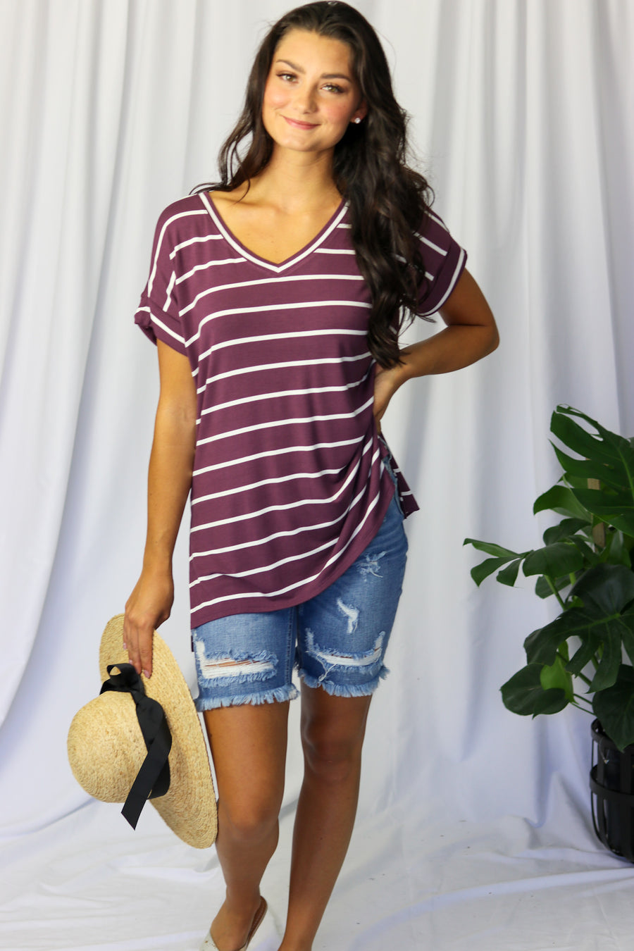 Striped Roll Sleeve V-Neck Top