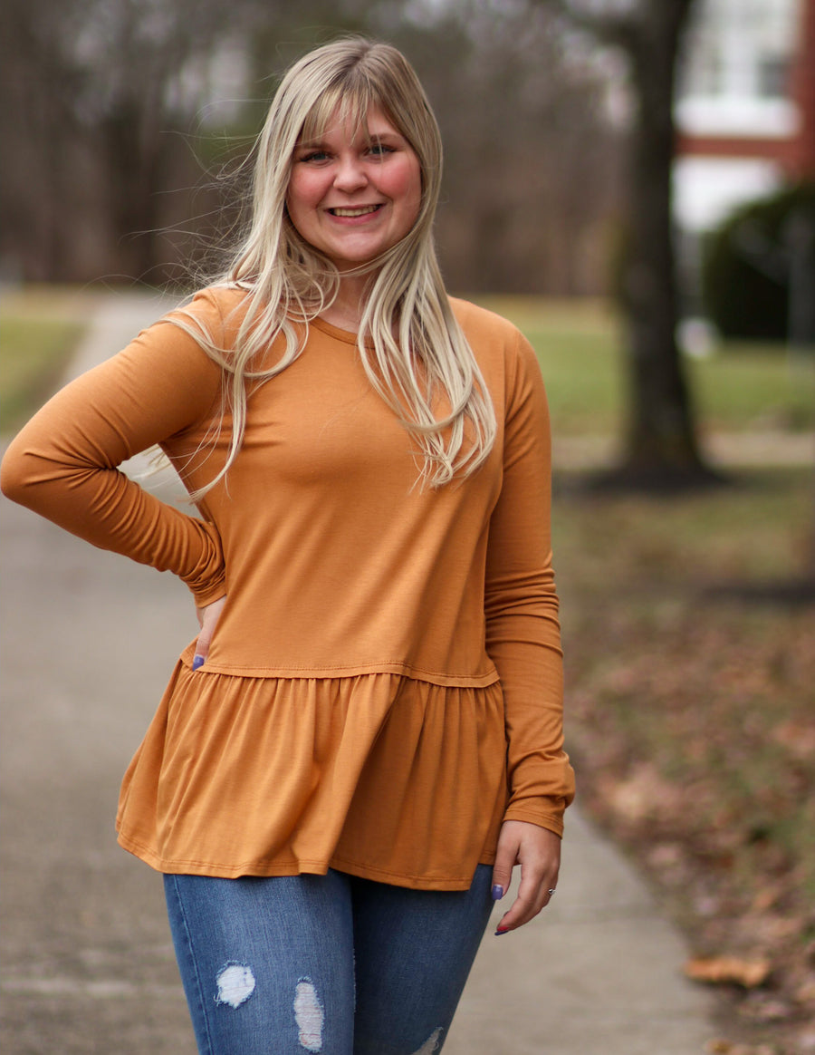 Solid Tiered Knit Top