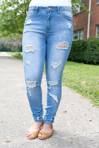 Light Denim Skinny Distressed