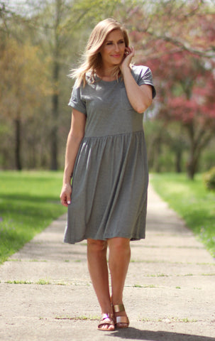 Knit striped babydoll dress