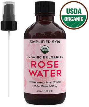 Rose Water for Face & Hair, USDA Certified Organic Facial Toner. Alcohol-Free Makeup Setting Hydrating Spray Mist. 100% Natural Anti-Aging Petal Rosewater by Simplified Skin (4 oz)